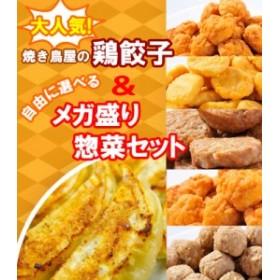 【送料無料】大人気 焼き鳥屋の鶏餃子(500g 一個約28g)と選べるメガ盛り惣菜2パックセット 訳あり お惣菜 お弁当 福袋 お試し