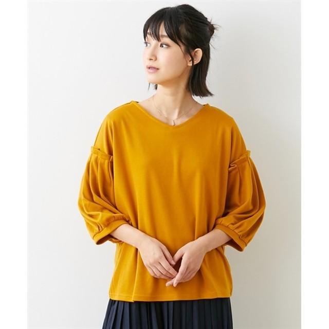 袖タックボリュームポンチトップス (Tシャツ・カットソー)(レディース)T-shirts