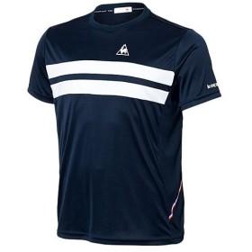 ルコック スポルティフ(lecoqsportif) メンズ レディース テニス 半袖シャツ S/SLEEVE SHIRT ネイビー QTULJA31ZZ NVY テニスウェア ゲームシャツ Tシャツ