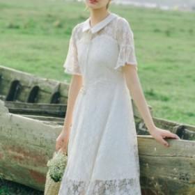 襟付き レース フレア ワンピース 白 ピンク 七分袖 小花柄 かわいい 襟に紐 シースルー Aライン ミモレ丈 大きいサイズ