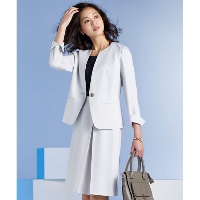 デザインスカートスーツ(ノーカラージャケット+アシメタックAラインスカート)