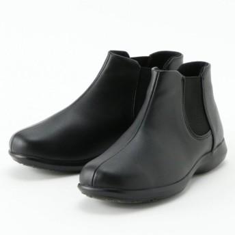ブーツ レディース ショート ブーティ 吸湿発熱中敷き サイドゴアショートブーツ 「ブラックスムース調」