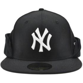 キャップ - stylise ニューエラ キャップ ◆ NEW ERA 59FIFTY Flip Down ウールツイル ニューヨーク・ヤンキース ブラック ×スノーホワイト 11475044 メンズ 帽子 ロゴ[FS]