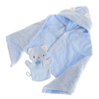 [ファミリア]ポンチョ型バスタオルセット(ブルー) 出産のお祝い