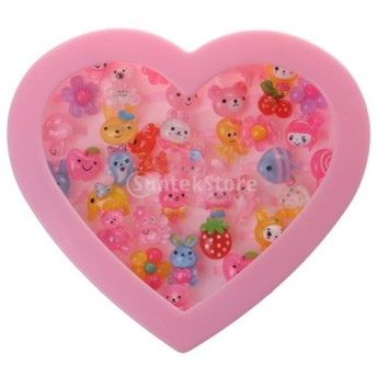 女の子 人工宝石 各種 プラスチック リング 指輪 盛り合わせ ハート 星 ボックス おもちゃ - ハート 36枚