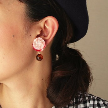 <patterie> BUTTON SPANGLE EARRING(PR17SS-AC-P001193-E) pink 【三越・伊勢丹/公式】