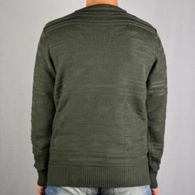 ニット・セーター - NEVEREND アクリル 同色エスニック ジャカード クルーネックセーター 8411-508