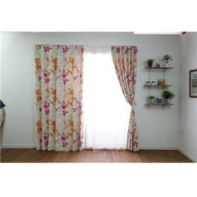 植物柄 遮光カーテン [幅100cm×丈135cm ピンク 1枚入] 遮光2級 タッセル付き 形状記憶加工 『フローラ』