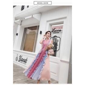 【送料無料】 パーティーの主役になれる ピンク×パープル ノースリーブ シフォン プリーツ ドレス