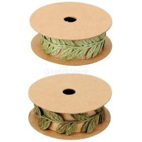リボン トリム 2ロール ヴィンテージ サテン 葉 つる 花輪 ミシン デコレーション