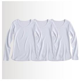 UVカット綿100%フライス素材クルーネック長袖Tシャツ3枚組 (Tシャツ・カットソー)(レディース)T-shirts