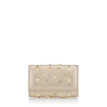 NEPTUNE クリスタルスタースタッズ付き Light Gold ウォッシュド メタリック ディアスキン・キーケース