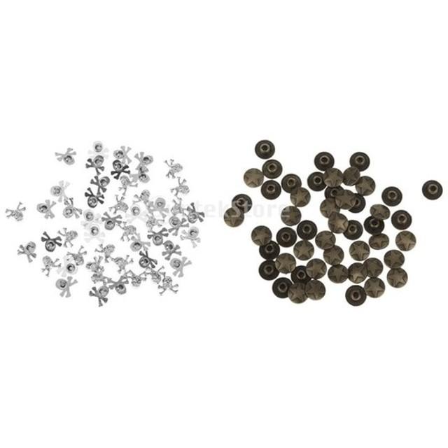 DIY 装飾 ボタン スポット リベット スタッド 合金 青銅 丸形 星柄 約50個