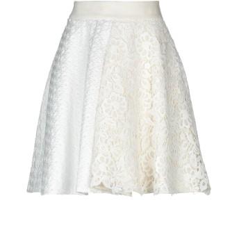 《セール開催中》FAUSTO PUGLISI レディース ひざ丈スカート ホワイト 42 ポリエステル 100% / コットン / ナイロン / アセテート / レーヨン