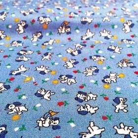小さい象さん×水色地 チューリップ USAコットン[N304]