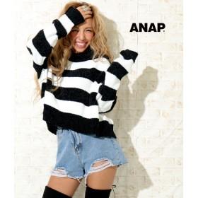 【セール開催中】ANAP(アナップ)●ベロアモールボーダーニット