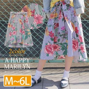 ストライプx花柄 ウエストリボン付き 裏地付き バックテール フレア スカート ブラック系 M-3L(タグ1)(5400円以上購入で送料無料)