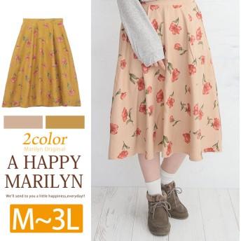 A Happy Marilyn フェイクスウェード素材 ウエスト後ろゴム 花柄 フレア ミモレ丈スカート