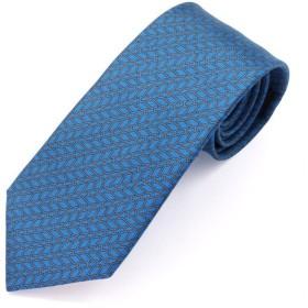 HERMES エルメス CRAVATE TWILL フランス製 シルクネクタイ 7cm幅 ブランドBOX付き ブルー