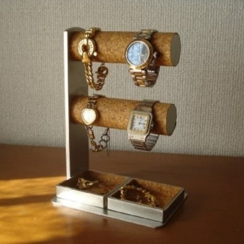 腕時計を飾る 丸パイプ2段でかいトレイ4 6本掛け腕時計スタンド ak-design No.81114