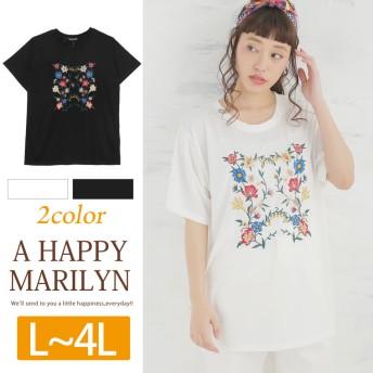 フロントフラワー刺繍入り 半袖 カットソー ブラック LL(5400円以上購入で送料無料)