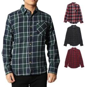 シャツ - Style Block MEN シャツ ネルシャツ チェック柄 ビエラチェック 長袖 レギュラーカラー トップス メンズ グリーン レッド 冬先行