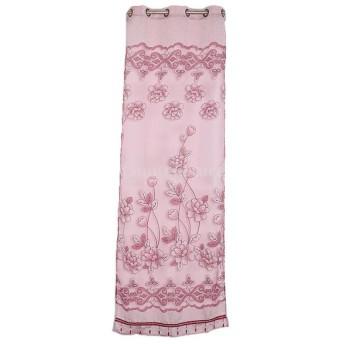 高品質 ドアカーテン カーテン 装飾 窓 部屋 ボイルカーテン 子供 寝室 250x100cm 花柄ビーズ (ワインレッド)