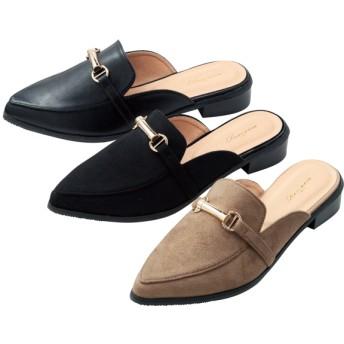 【格安-女性靴】レディースポインテッドトゥスリッパサンダル