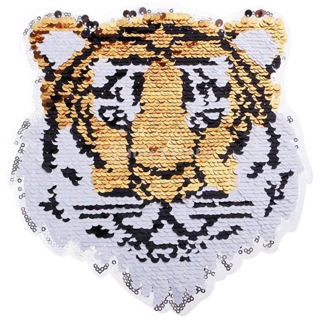 スパンコール パッチ 両面 アップリケ 縫製 タイガー