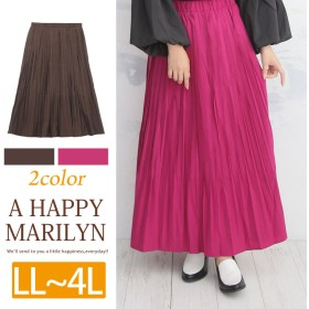 A HAPPY MARILYN 裏地付き ウエストゴム ビンテージサテン ロング丈 プリーツスカート