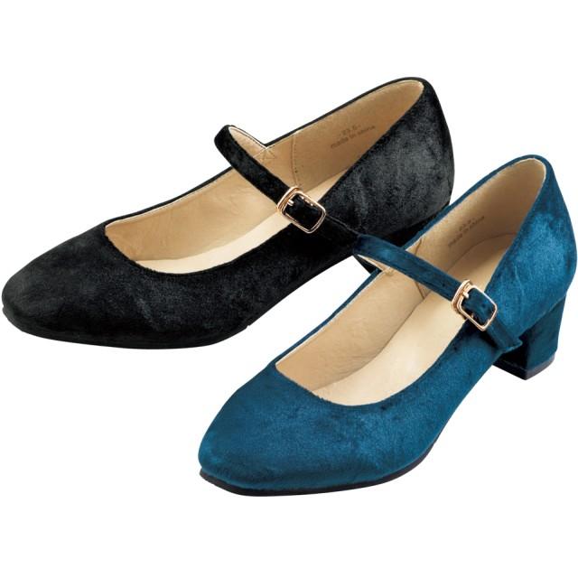 【格安-女性靴】レディースベロア調素材ストラップ付チャンキーヒールパンプス