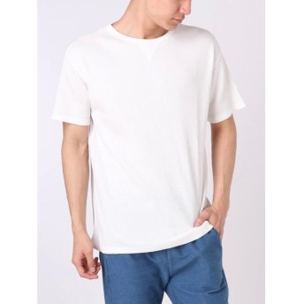 【33%OFF】 コトリカ ワッフルピグメントガゼット付Tシャツ メンズ オフホワイト L 【COTORICA.】 【セール開催中】
