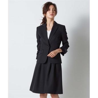 レディース 変り織スカートスーツ テーラードジャケット+タックフレアスカート