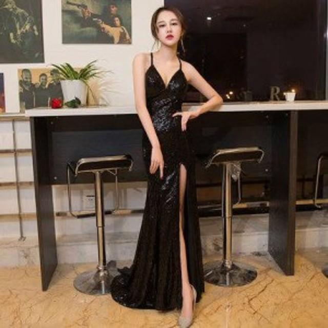 584fd57fe9064 ロングドレス 黒 パーティードレス タイトドレス イブニングドレス ナイトドレス 春夏 コンサート ステージ衣装