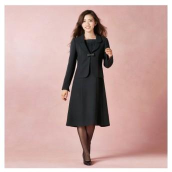 【喪服。礼服】テーラードアンサンブル(ジャケット+前開きワンピース)(オールシーズン対応)<大きいサイズ有> (ブラックフォーマル)funeral outfit, plus size funeral outfit