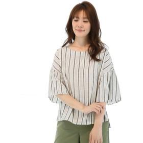 シャツ - TAKA-Q リネン混フレアスリーブ半袖シャツ