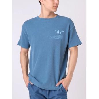 コトリカ ワッフルピグメント09プリントTシャツ メンズ ブルー M 【COTORICA.】
