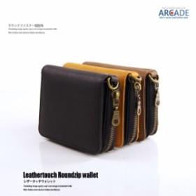 fe85938e0788 財布 メンズ 短財布(小銭入れあり)レザータッチ ラウンドファスナー 二つ折り PU