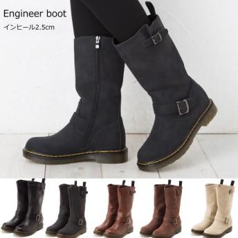 インヒールエンジニアブーツ ミドル丈 大きなサイズ有 ブーツ レディース エンジニアブーツ インヒール ヌバック 美脚 大きいサイズ