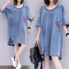 ビッグシルエットTシャツ ワンピース メンズライク カジュアル デニム柄 レディース 大きいサイズ 20代 30代 リラックス 女子会