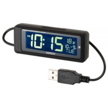 FIZZ1083 車用電波時計 (常時点灯タイプ USB) ブラック/白色LED