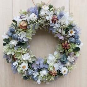 ユーカリのライムパープルリースM リースボックス付 プリザーブドフラワー ウェディング 結婚祝い 誕生日 新築祝い