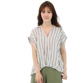 シャツ - TAKA-Q リネン混フロントタック半袖シャツ