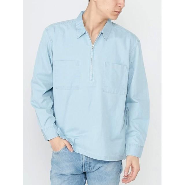 【50%OFF】 コトリカ ハーフZIPシャツ メンズ アイスブルー M 【COTORICA.】 【セール開催中】