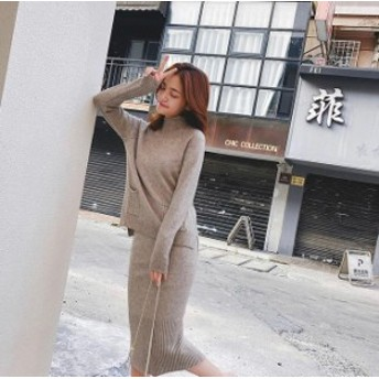 2018秋冬新作!清楚で気品のある、ケーブル編みポケット付きニットセーター×ニットタイトスカートのセットアップ♪ C30580