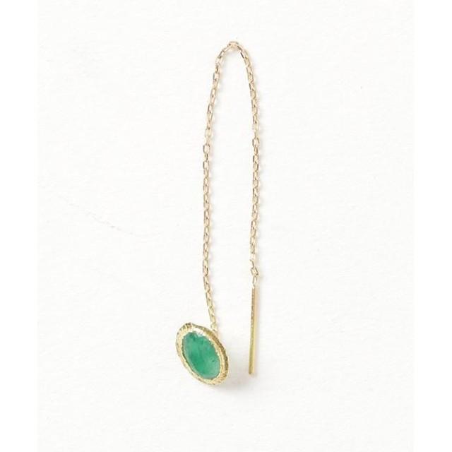 GIGI Emerald Pierced earring (Single) グリーン/FREE(エストネーション)◆レディース ピアス(片耳用)