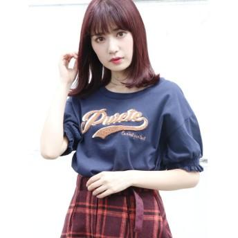 【68%OFF】 ダズリン ロゴ刺繍Tシャツ レディース ネイビー F 【dazzlin】 【セール開催中】