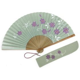 【白竹堂】婦人扇子 京扇子(香りつき)紙扇子 小紋だより 鉄線×唐草紋