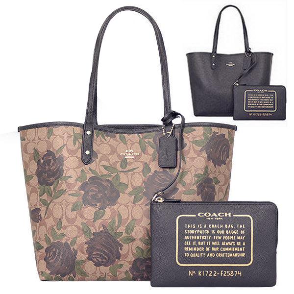 COACH黑色花卉防刮皮革雙面雙色購物托特包/肩背包(大)