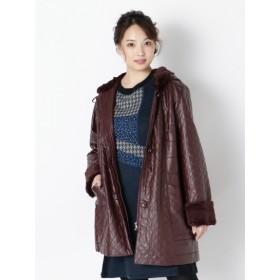 【大きいサイズレディース】レザー調裏側ボアの暖かキルティングコート アウター ブルゾン
